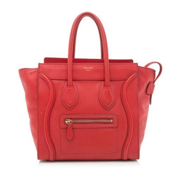 fa14df0c02d Celine Bags   Cline Luggage Micro Red Leather Tote   Poshmark